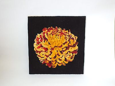 Large Vintage Completed Tapestry Needlepoint Oriental Black Gold Chrysanthemum