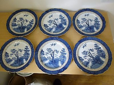6 Booths Real Old Willow Dinner Plates - Vintage