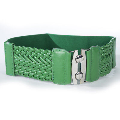 "S44 - Green 3"" Wide Braided Leather & Stretch Material Ladies Belt, One Size"