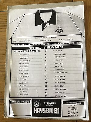 DONCASTER ROVERS Res v WREXHAM Res 1995/6.