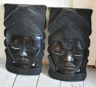Pair Of Heavy African Tribal Art Wall Mounted Mask Wooden Carved