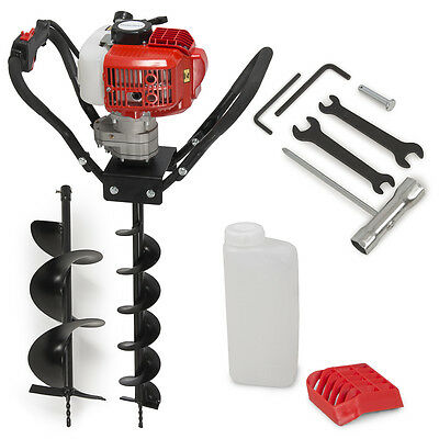 """Earth Post Hole Digger 52cc One Man Gas 2 Stroke Auger EPA w/ 4"""" + 8"""" Auger Bits"""