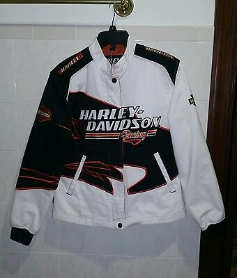 Womens Harley Davidson Screamin Eagle Embroidered Racing Jacket Size Large