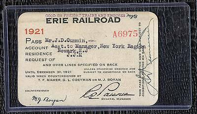 1921 Erie Railroad Ney York Region Assistant Manager Pass in Sleeve
