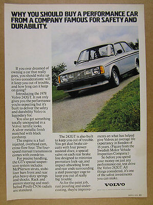 1978 Volvo 242 GT 242GT color photo vintage print Ad