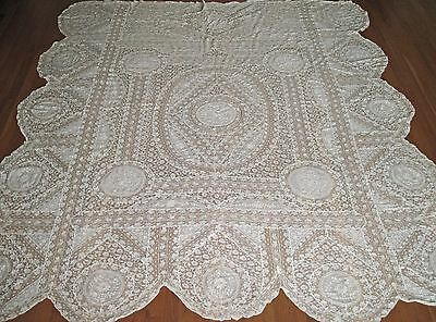 "GORGEOUS  Antique Vintage French Normandy Lace Bedspread 97"" x 84"" w/ Tag"