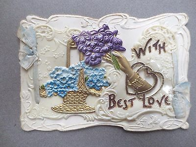 ANTIQUE Celluloid Christmas Card Embossed Violets Forget Me Nots Hand Glitter