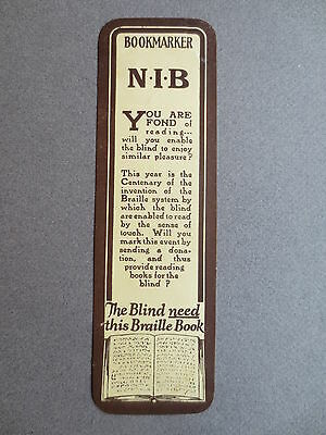 BOOKMARK Vintage National Institute for the Blind BRAILLE Invention Centenary