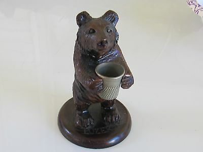 Black Forest Carved Wood Bear Thimble Holder