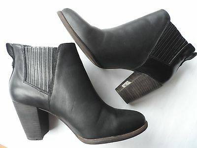 Ugg 'poppy' Ladies Stunning Black Leather Ankle Boots Size 6.5 Uk/39 Eu/8 Us