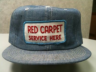 "Rare Vintage STANDARD OIL/AMOCO ""RED CARPET SERVICE HERE"" HAT Denim Embroidered"