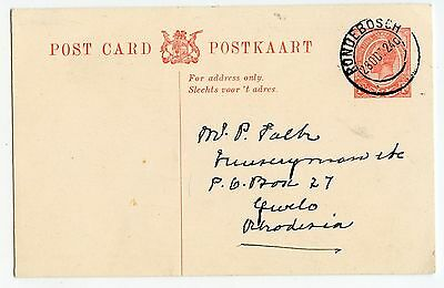 SOUTH AFRICA POSTCARD KG V 1d, RONDERBOSCH TO RHODESIA 1924             (W733)