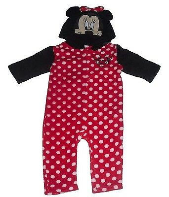Baby Girls Sleepsuit Pyjamas All Inn One With Hood Disney Minnie Mouse