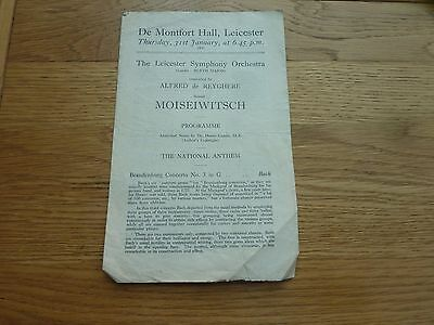 1946 31 Jan Moiseiwitsch Leicester Symphony Orchestra Concert Programme