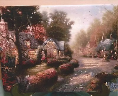1999 Thomas Kinkade Plate Cobblestone Lane Mint In Box W/certificate
