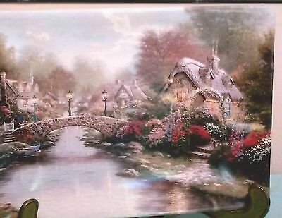 1999 Thomas Kinkade Plate Lamplight Bridge Mint In Box W/certificate