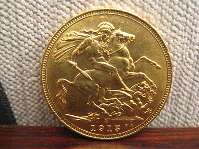 George V Gold Sovereign S 1915 George and Dragon Scarce in Marsh
