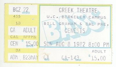 Rare Genesis 8/8/82 Berkeley CA Greek Theatre Concert Ticket Stub!