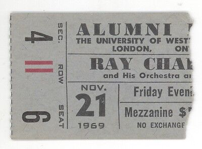 RARE Ray Charles 11/21/69 London Ontario Canada UWO Concert Ticket Stub!
