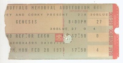 Rare Genesis 2/28/77 Buffalo NY Memorial Auditorium Concert Ticket Stub!