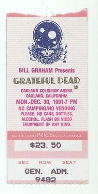 RARE Grateful Dead 12/30/91 Oakland CA Mail Order Concert Ticket Stub!
