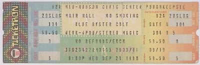 Rare BLUE OYSTER CULT 9/24/80 Poughkeepsie NY Concert Ticket! BOC