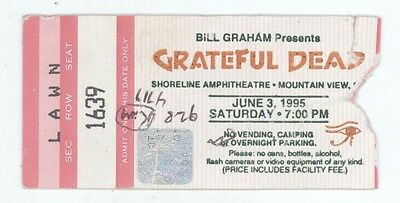 RARE Grateful Dead 6/3/95 Shoreline Amphitheatre Mail Order Concert Ticket Stub!