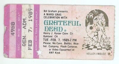 RARE Grateful Dead 2/7/89 Oakland CA Mail Order Concert Ticket Stub!