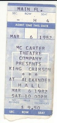 RARE King Crimson 3/6/82 Princeton NJ Alexander Hall Concert Ticket Stub!