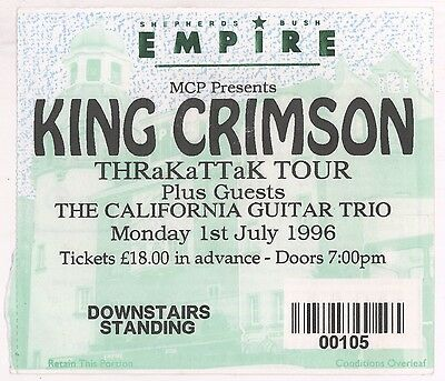 KING CRIMSON 7/1/96 London England Shepherds Bush Empire GIANT Ticket Stub!