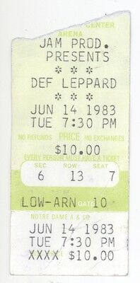 RARE Def Leppard 6/14/83 South Bend IN Concert Ticket Stub!