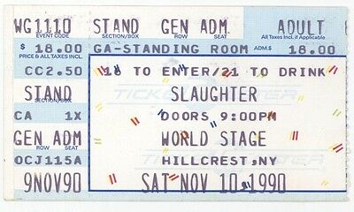 RARE Slaughter 11/10/90 Hillcrest NY World Stage Concert Ticket Stub!