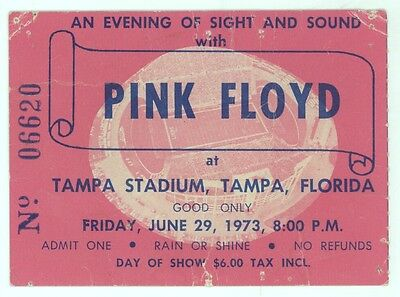 MEGA RARE Pink Floyd 6/29/73 Tampa Stadium $6 Day of Show Concert Ticket Stub!