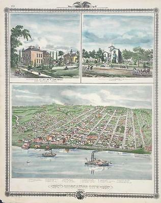 Antique Map Bird's Eye View of Muscatine City Iowa Hand Colored 1875