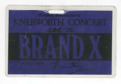 Rare BRAND X 6/24/78 Knebworth England Metallic Blue Backstage Pass! Genesis