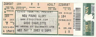 Rare NEW FOUND GLORY & GOOD CHARLOTTE 5/7/03 Atlanta GA Concert Ticket!