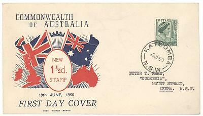 1950 Australia QEII 1 1/2d Wide World Brand First Day Cover! Katoomba to NSW FDC