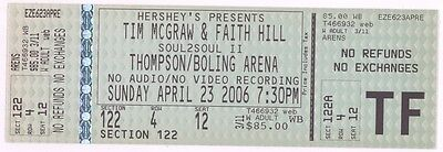 Rare TIM McGRAW & FAITH HILL 4/23/06 Knoxville TN Concert Ticket!