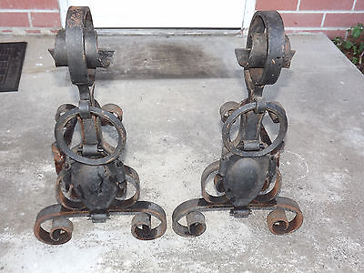 Antique Wrought Iron Andirons Plantation Handcrafted Each 23.5 inches tall