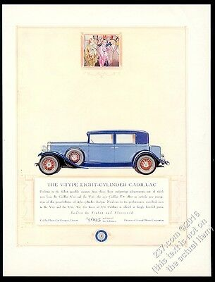 1931 Cadillac V-8 sedan blue car big color art vintage print ad