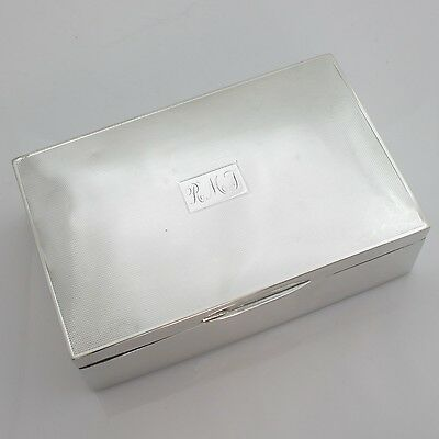 Solid Sterling Silver Cigarette Jewellery Box Hallmarked Monogram RMJ 1951