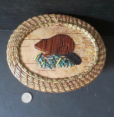 Quill BEAVER (#4) on coiled oval sweetgrass basket, by Paul St. John-Mohawk