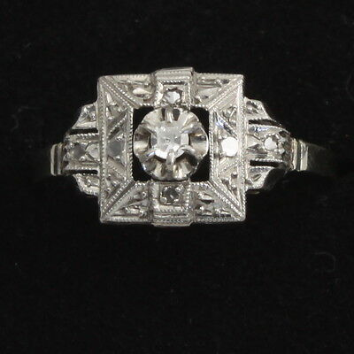 French Art Deco 18ct White Gold Platinum Diamond Type Stone Ring Size N