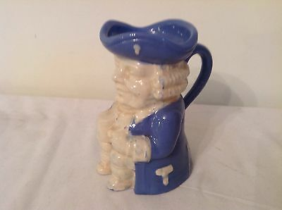 Vintage Dartmouth Pottery Blue & White Toby Jug