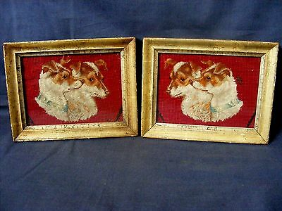 Antique Pair of Wool Work Dog Pictures c1850