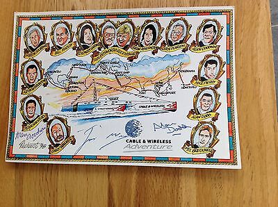CABLE AND WIRELESS SOUVENIR POST CARD With Autographs