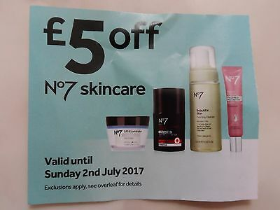 * Boots No 7 No7 £5 off Skincare Coupon Voucher Discount Protect Perfect *