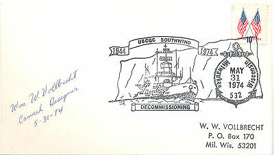 USA 1974 cover commemorating the decommissioning of a coast guard cutter