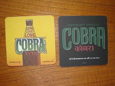 2  Different  Cobra  Beer  Mats / Coasters / Sous Bock  New