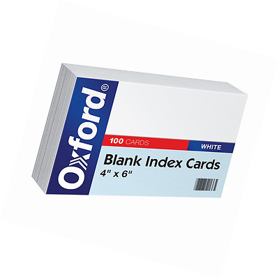 "Oxford Blank Index Cards, 4"" x 6"", White, 100/Pack"